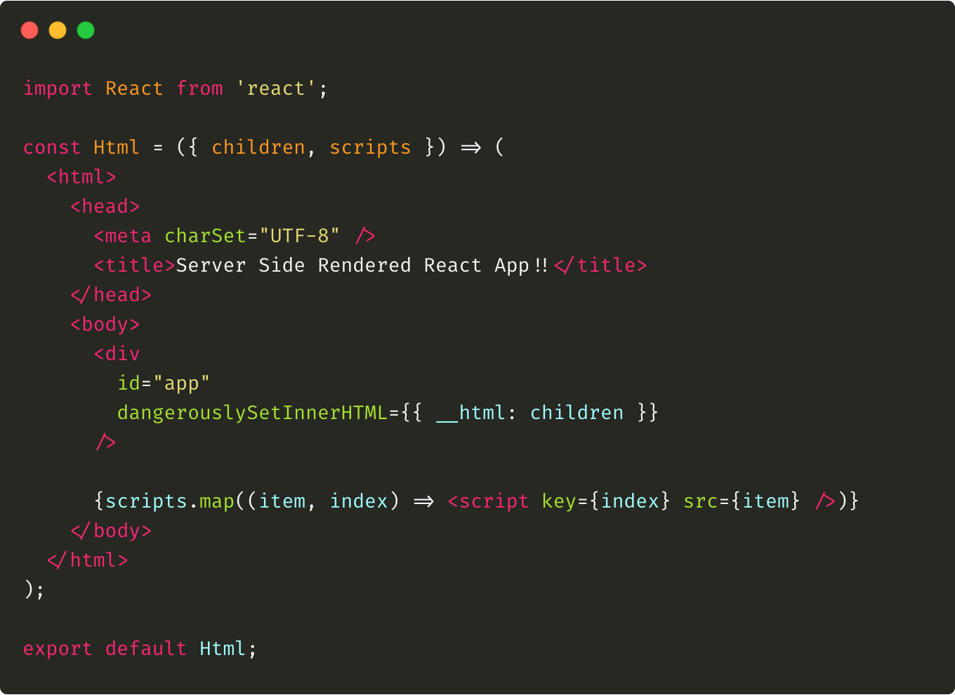 An example of the Html component that is responsible of rendering scripts and children passed via props.