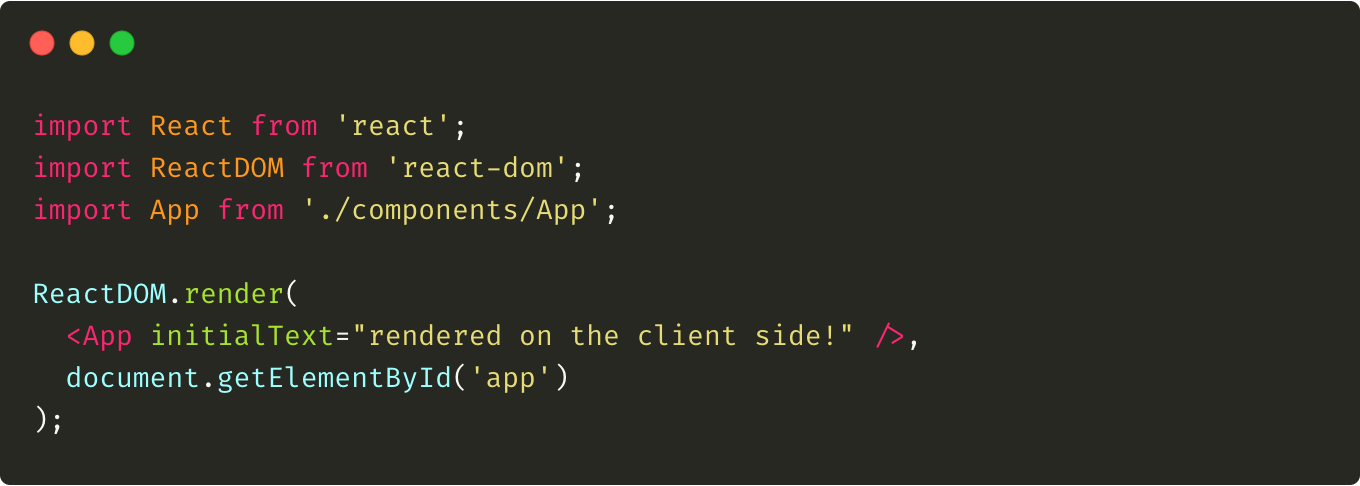 "An example of the client.js file that is responsible to render the React application into the ""app"" container."