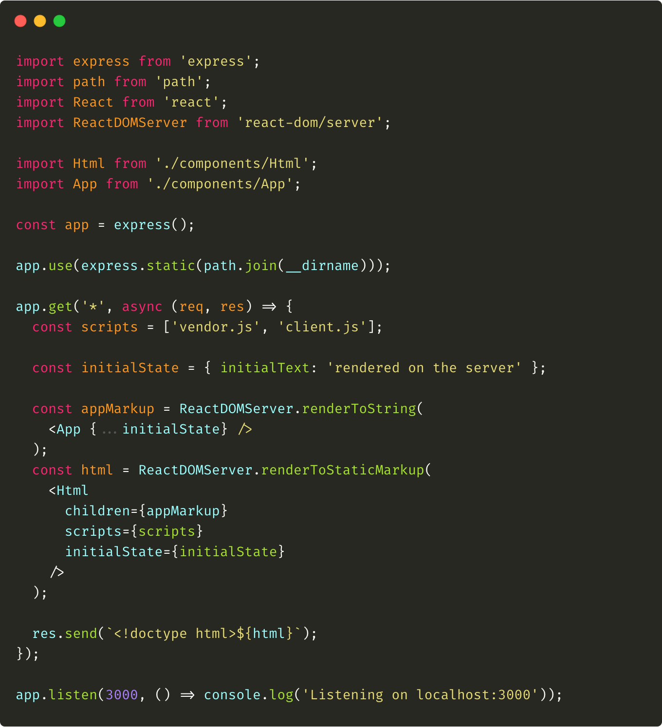 Modified server.js file that creates shared initial state, uses it and pass it to the Html component while rendering.