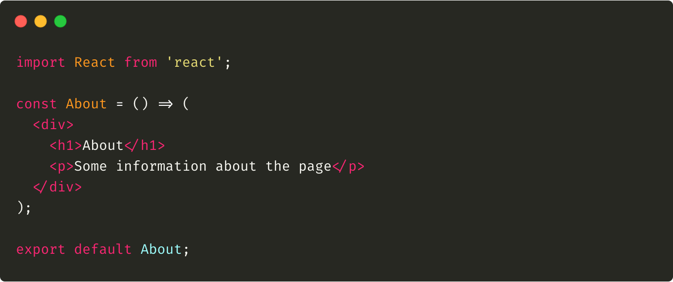 The code of the About.js component
