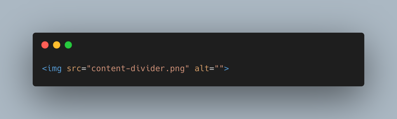An img tag with an empty alt attribute