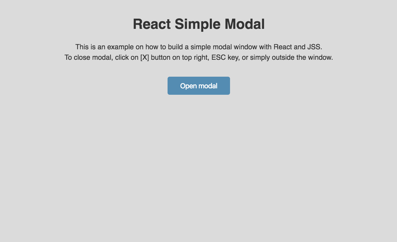Build a simple modal window with React and JSS  - Sergio