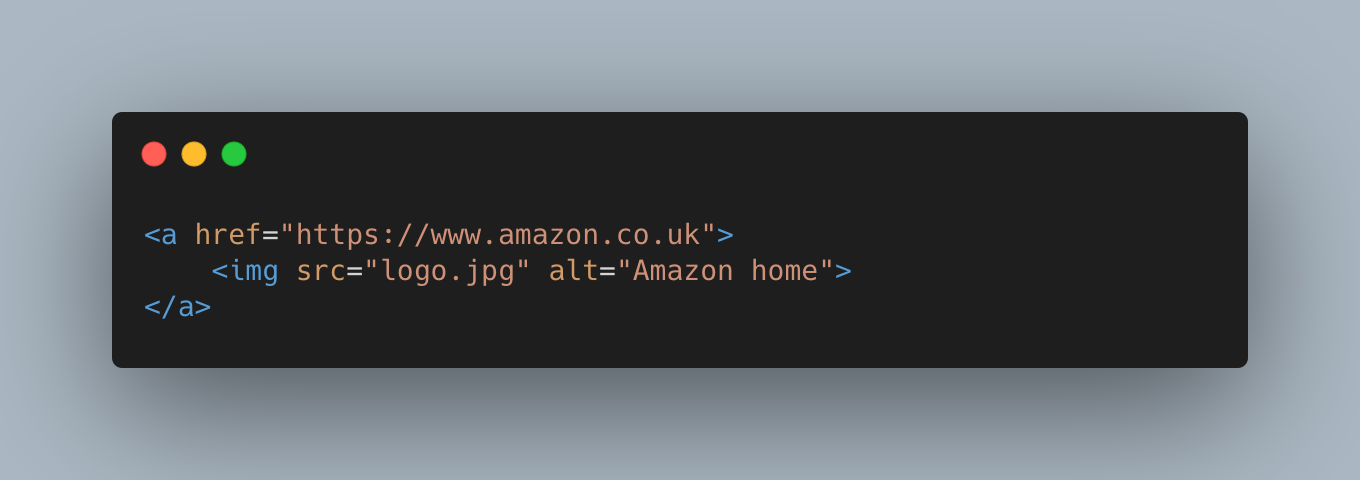 """An anchor tag for amazon.co.uk, within is an img tag with the alt attribute set to """"Amazon home"""""""