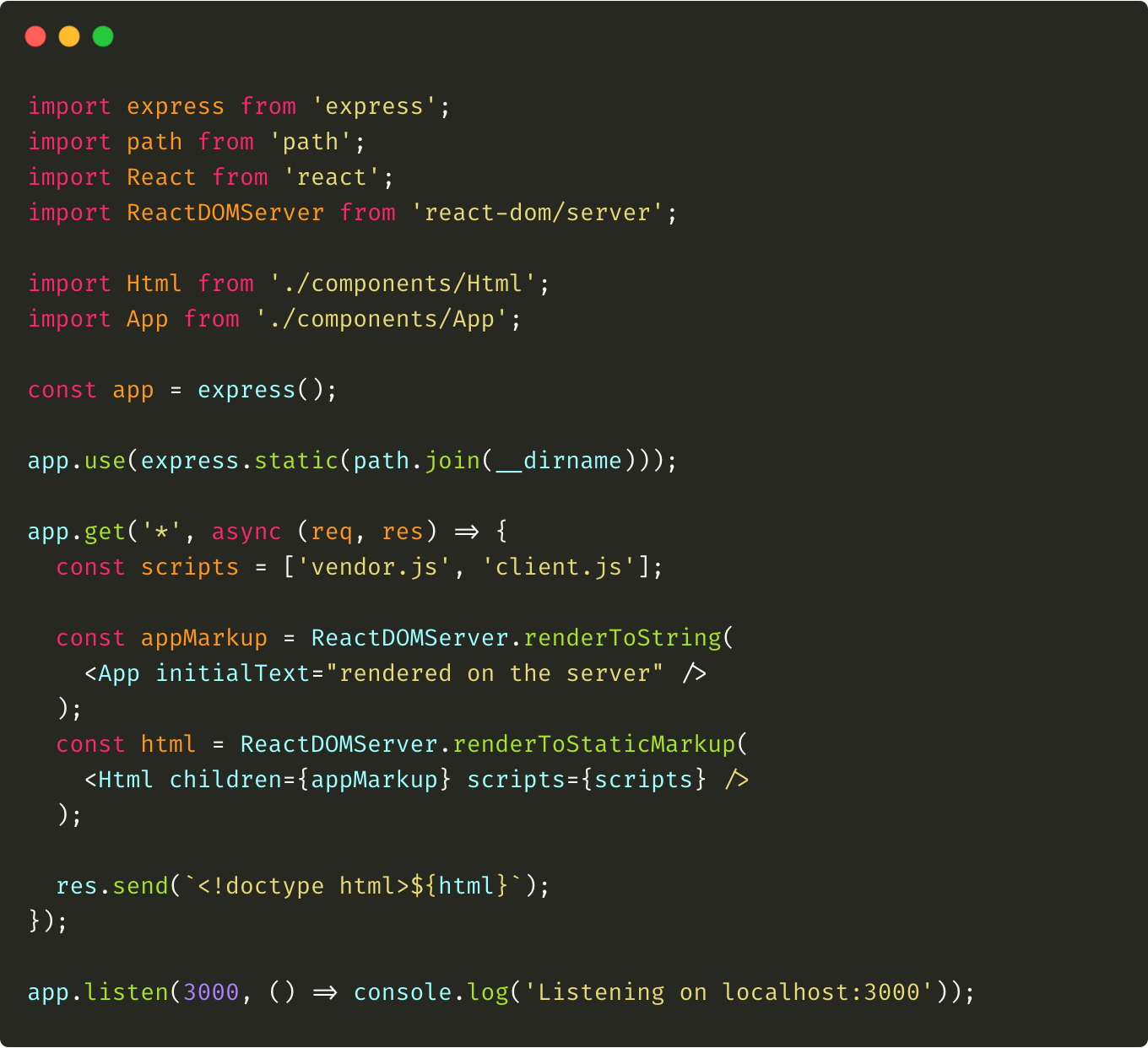 An example of server.js file where all the server-side rendering is performed.