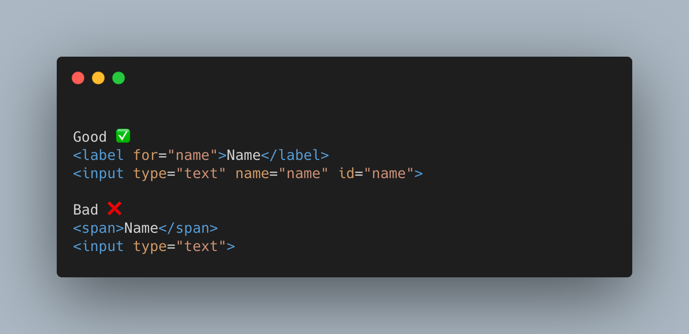 Html showing that is is best practice to use a label element with an input, linked using the for attribute