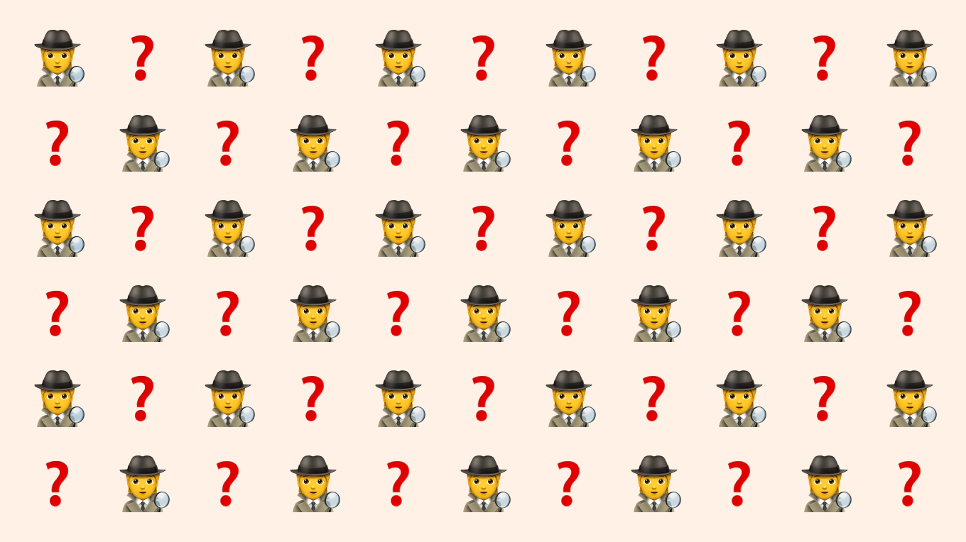 Emojis of a detective and question mark, symbolising the discovery process