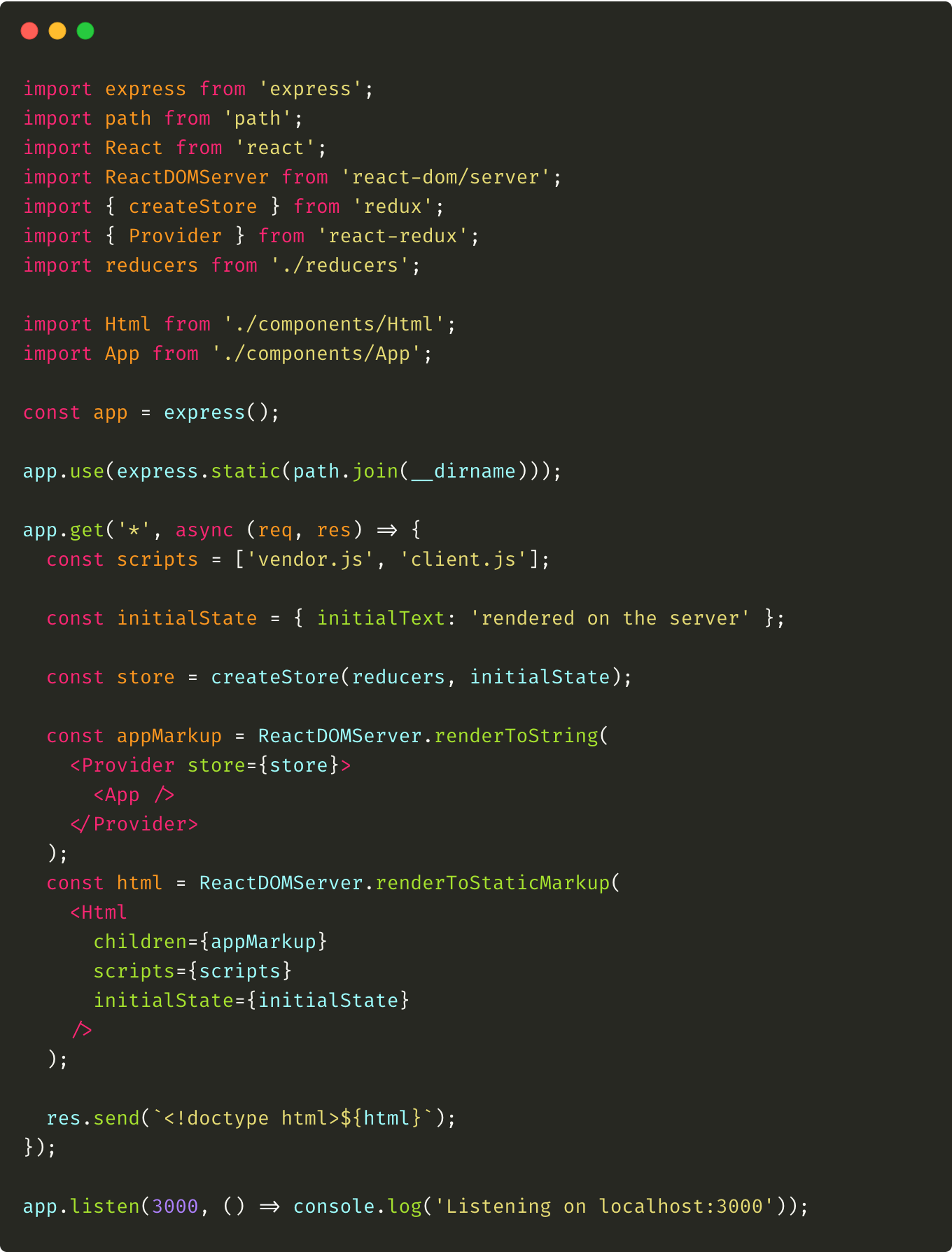 Modifications made in the server.js file