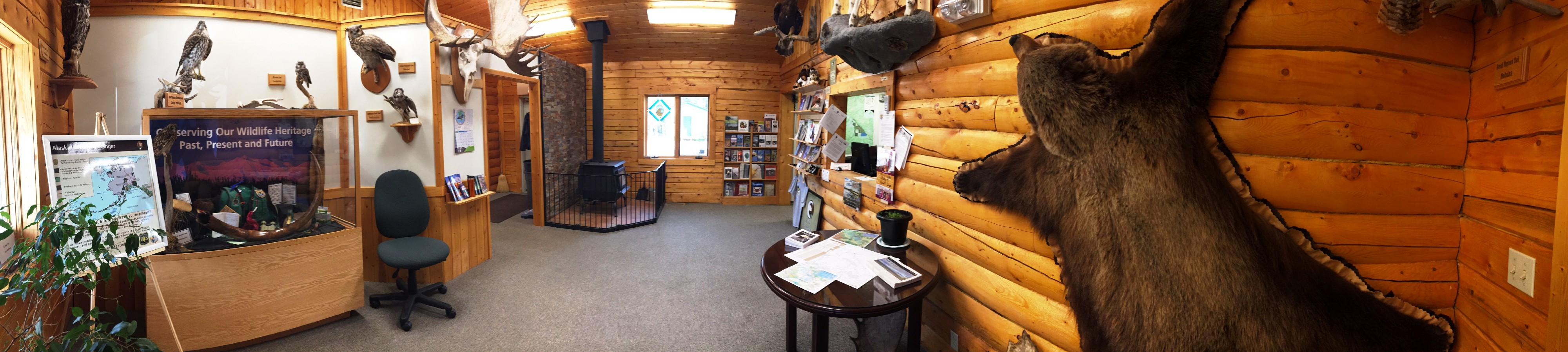Panorama of the inside of the Tetlin National Wildlife Refuge Visitor Center.