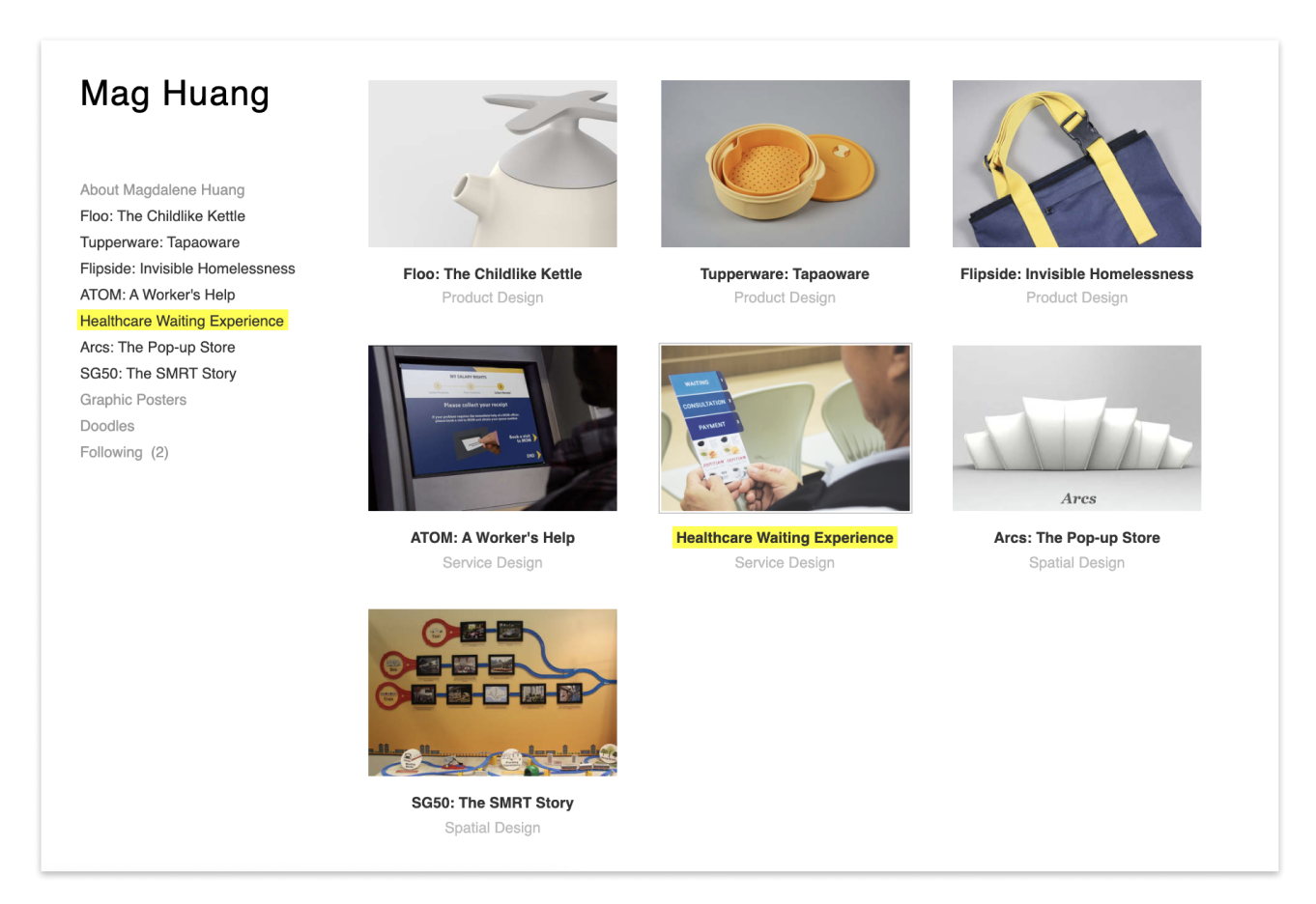 Screenshot of my first portfolio built with a templated website builder tool—cargo collective