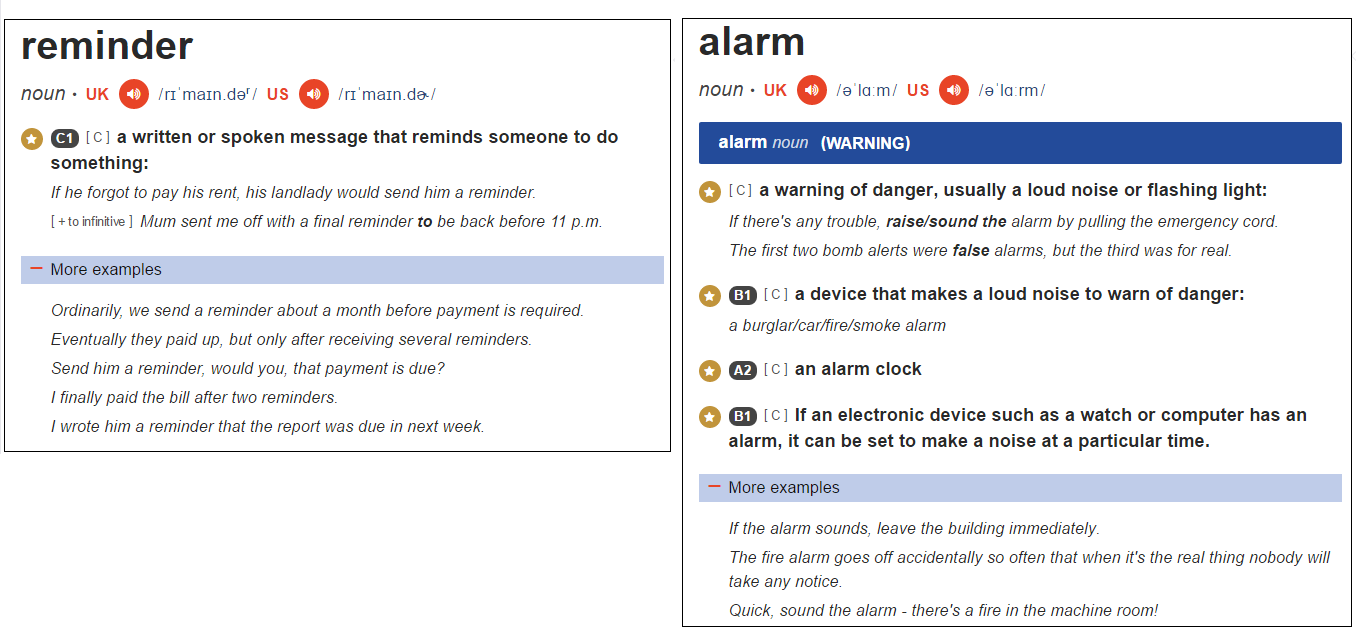 What's the difference between an Alarm and a Reminder?