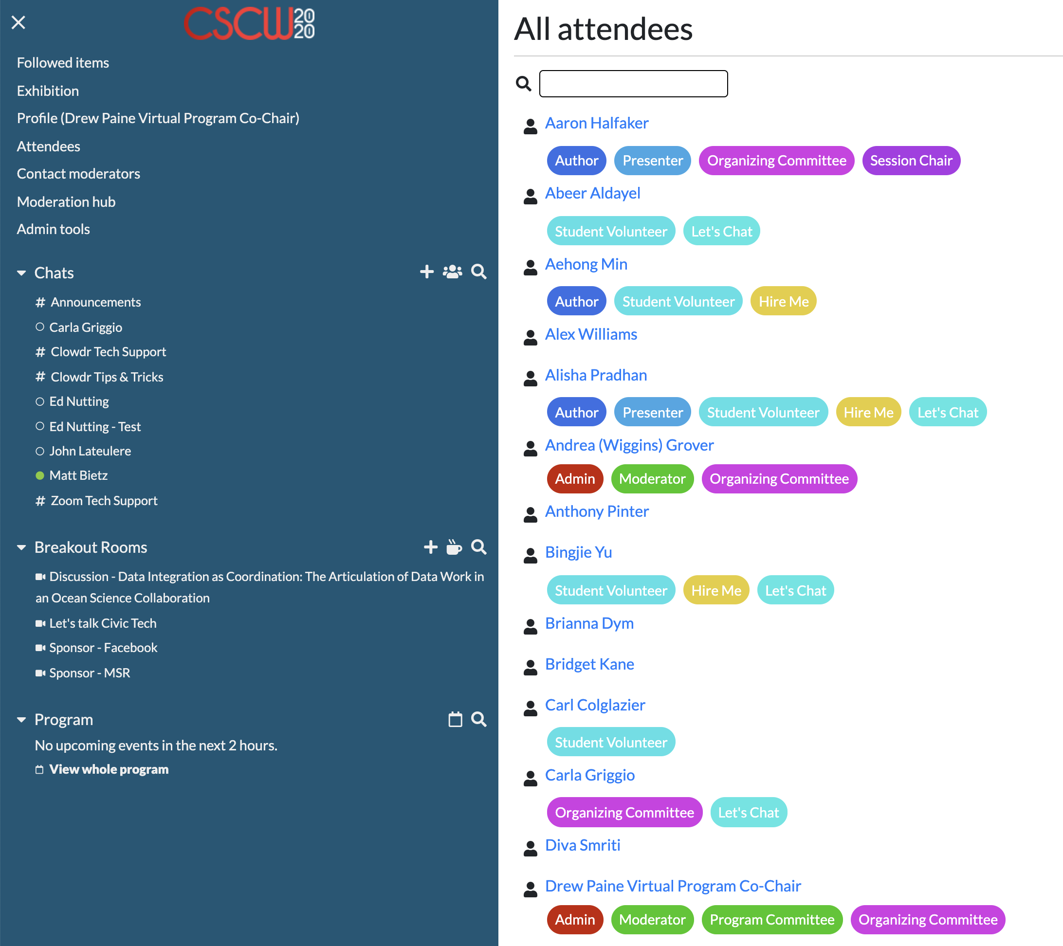 CSCW2020 participants can view all registered attendees, and see each person's profile badges, to easily socialize.