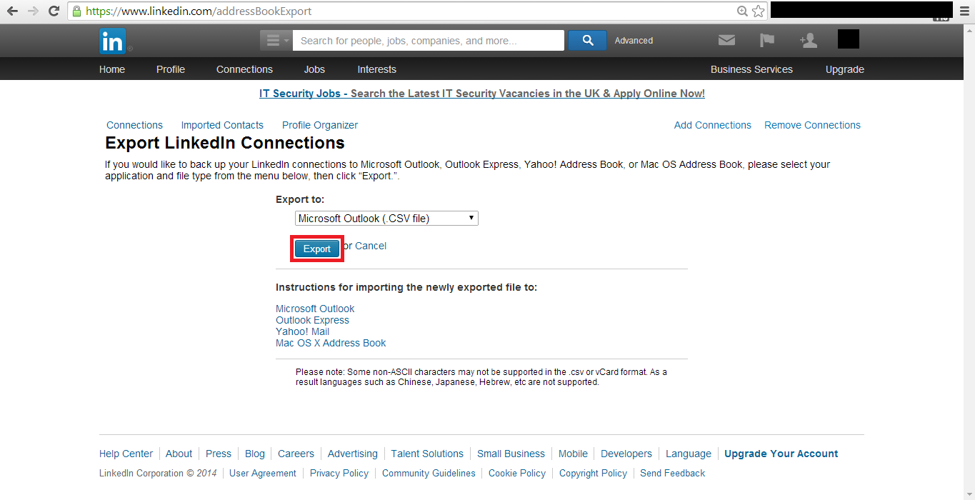How to export LinkedIn contacts to Mailchimp  - LinkedChimp
