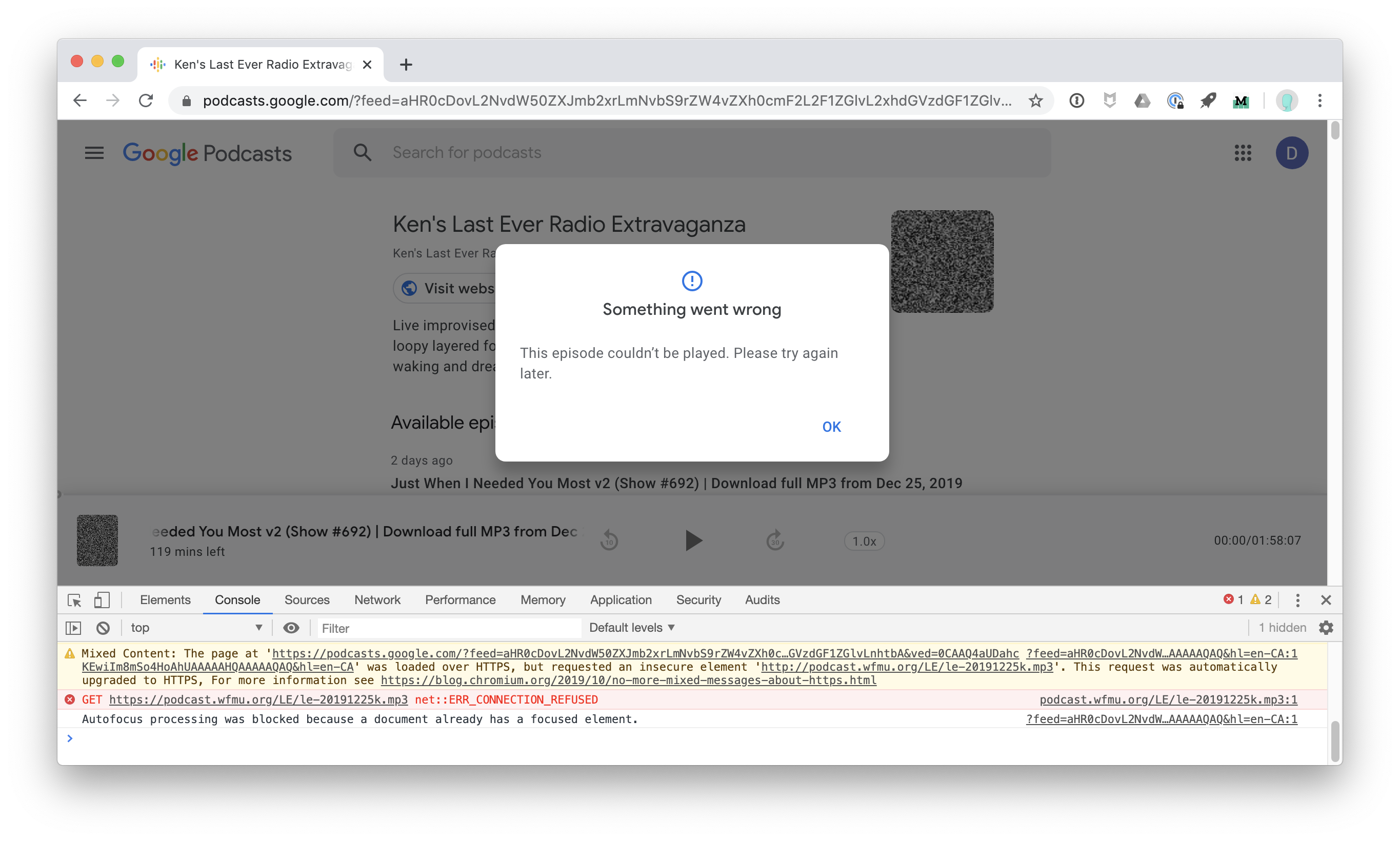 mixed content error message on google podcasts