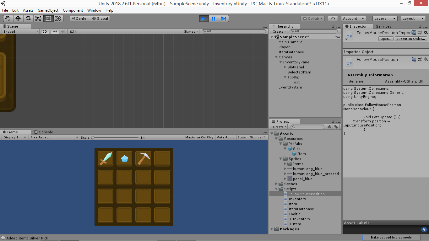 Create an Unity inventory: part 6 Generate tooltip - Yone