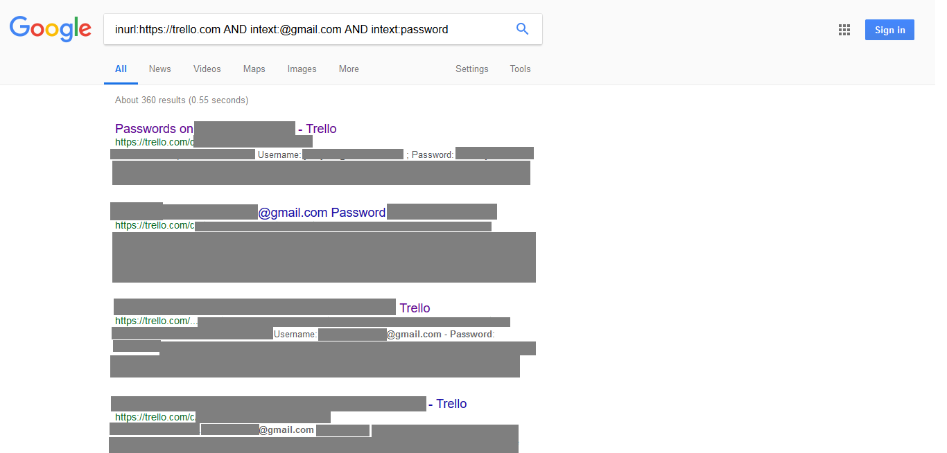 How I used a simple Google query to mine passwords from