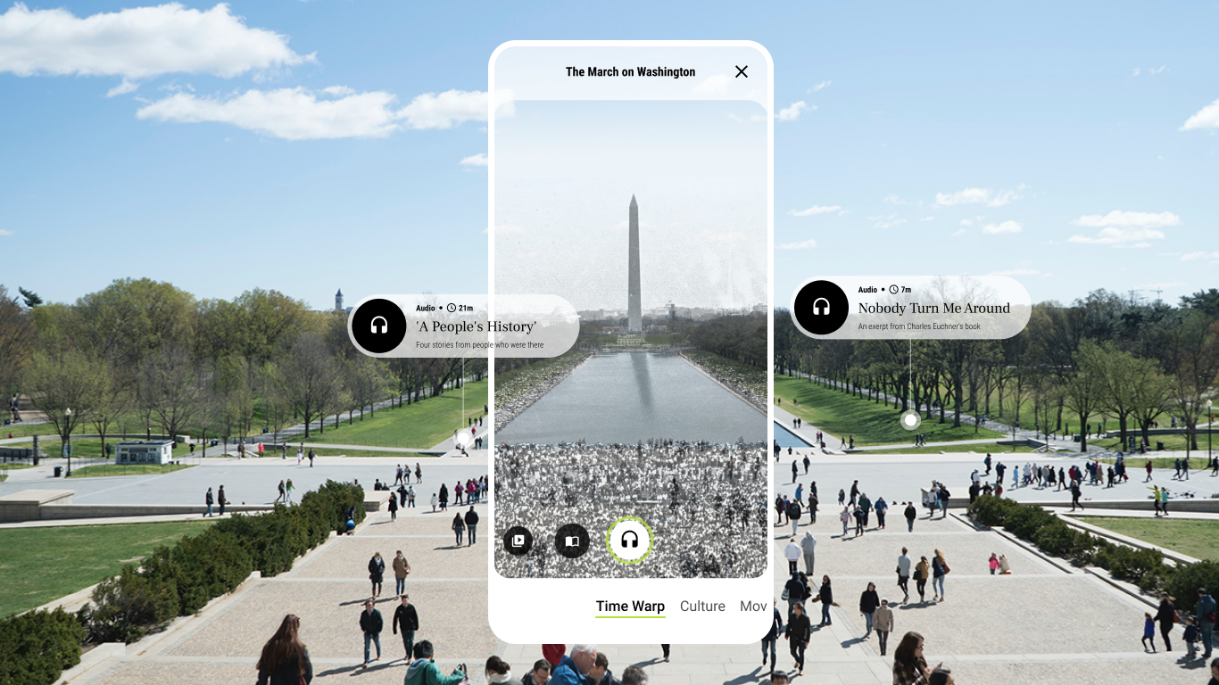 App screen overlay showing the Washington Monument with interactive buttons for historic audio recordings