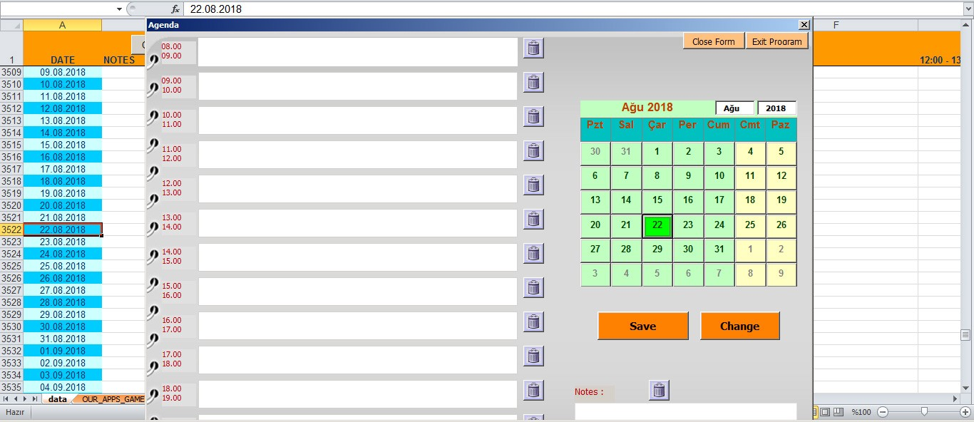Excel Vba Calendar With Event Planner (To-Do List) - Kadr