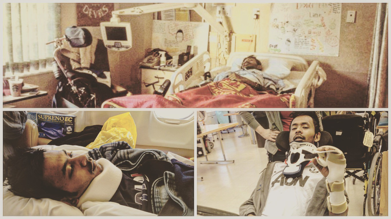 A collage picture of Ather in the hospital bed and during physical therapy session wearing a neck brace.