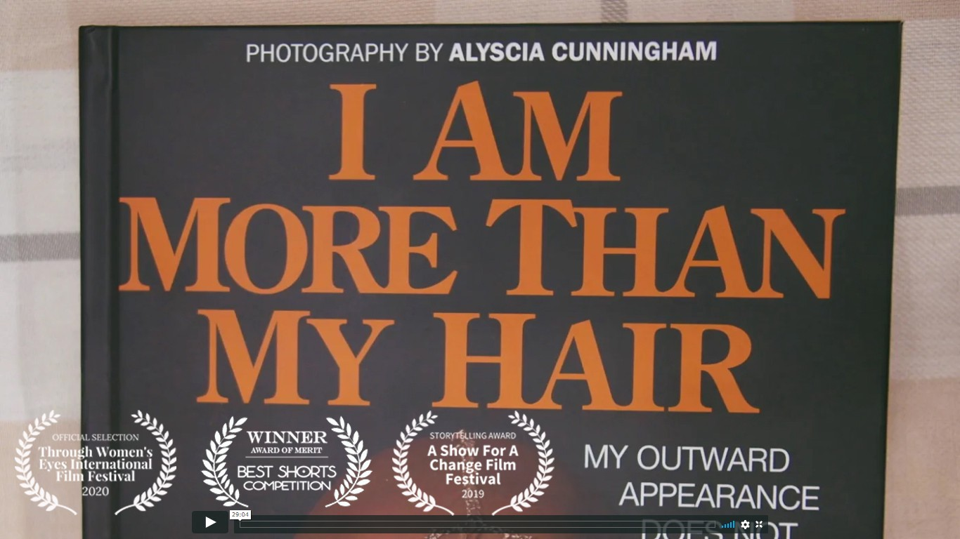"Video still of ""I Am More Than My Hair"" documentary film."