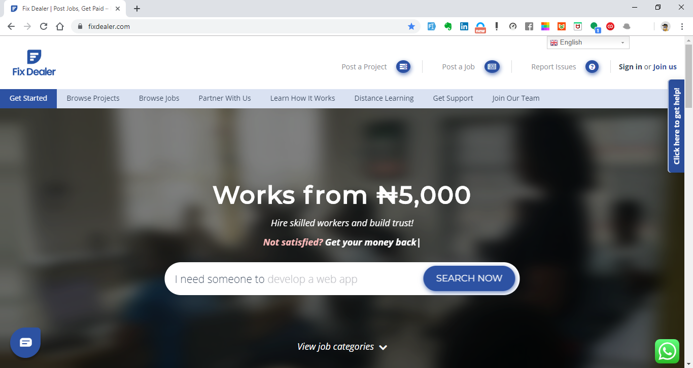 A web-based view of the Fix Dealer Freelance Platform