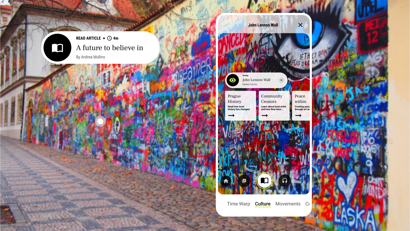 UI screen in front of a wall of graffiti with buttons to read articles about the history of music, culture, and art