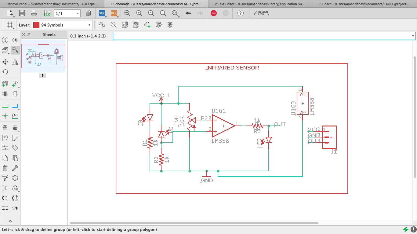 DESIGNING OF IR SENSOR USING EAGLE - Karkhana Makerspace ... on thermocouple schematic, induction coil schematic, proximity sensor schematic, ultrasonic sensor schematic, ph sensor schematic, led schematic, pir sensor schematic, motion sensor schematic, backlight inverter schematic, capacitive sensor schematic, pulse generator schematic, speaker schematic,