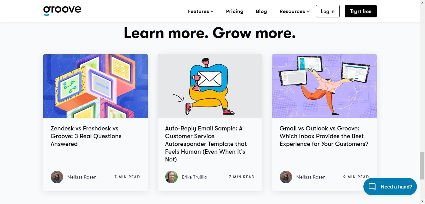 Groove's linked blog posts on its homepage