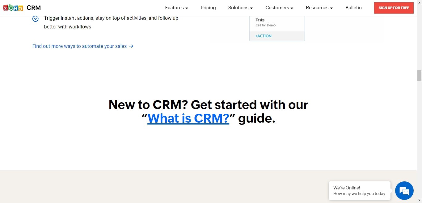 Zoho CRM's 'What is CRM?' guide linked in its homepage