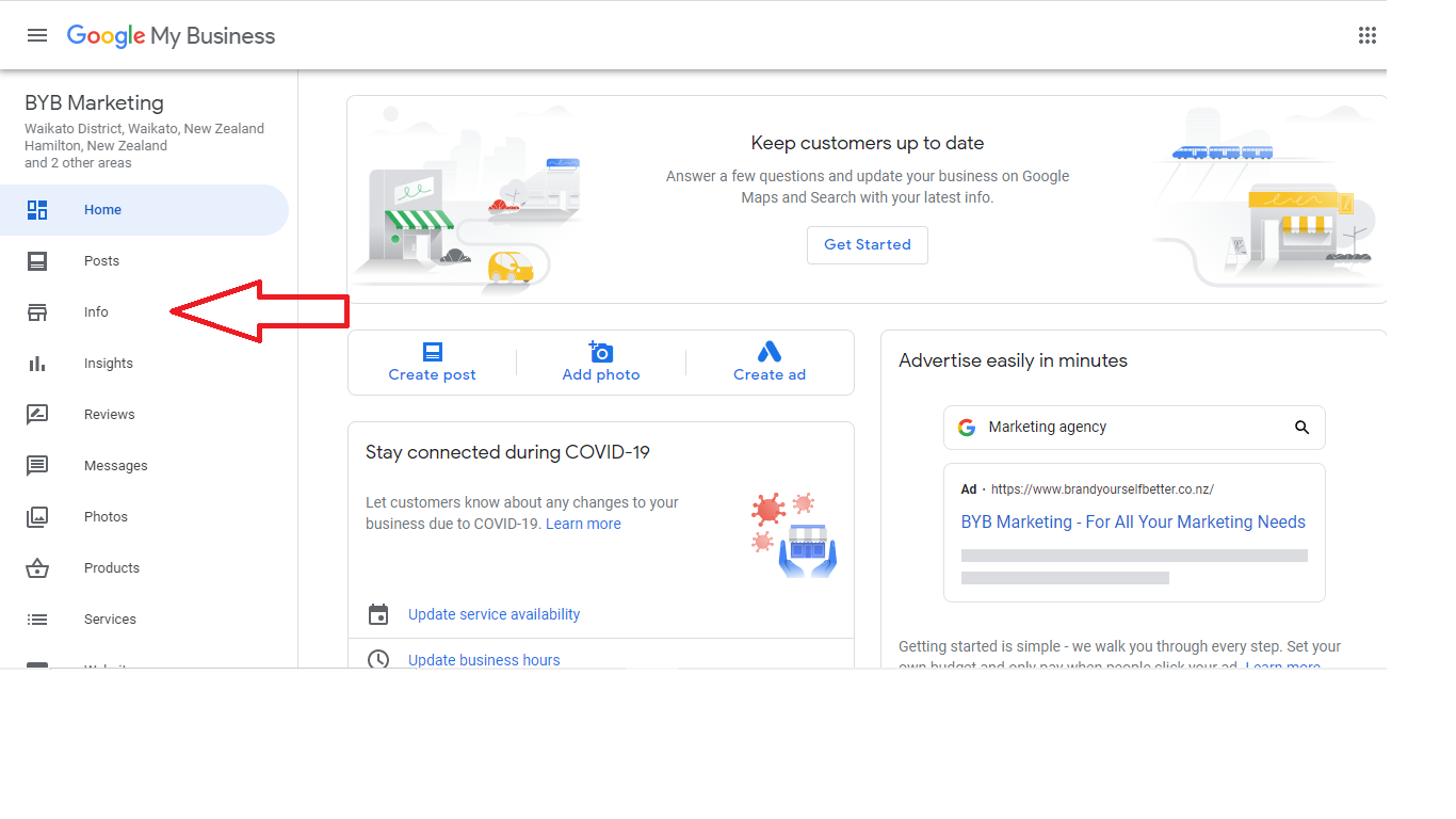 """Image of the Google My Business console highlighting the """"Info"""" section."""