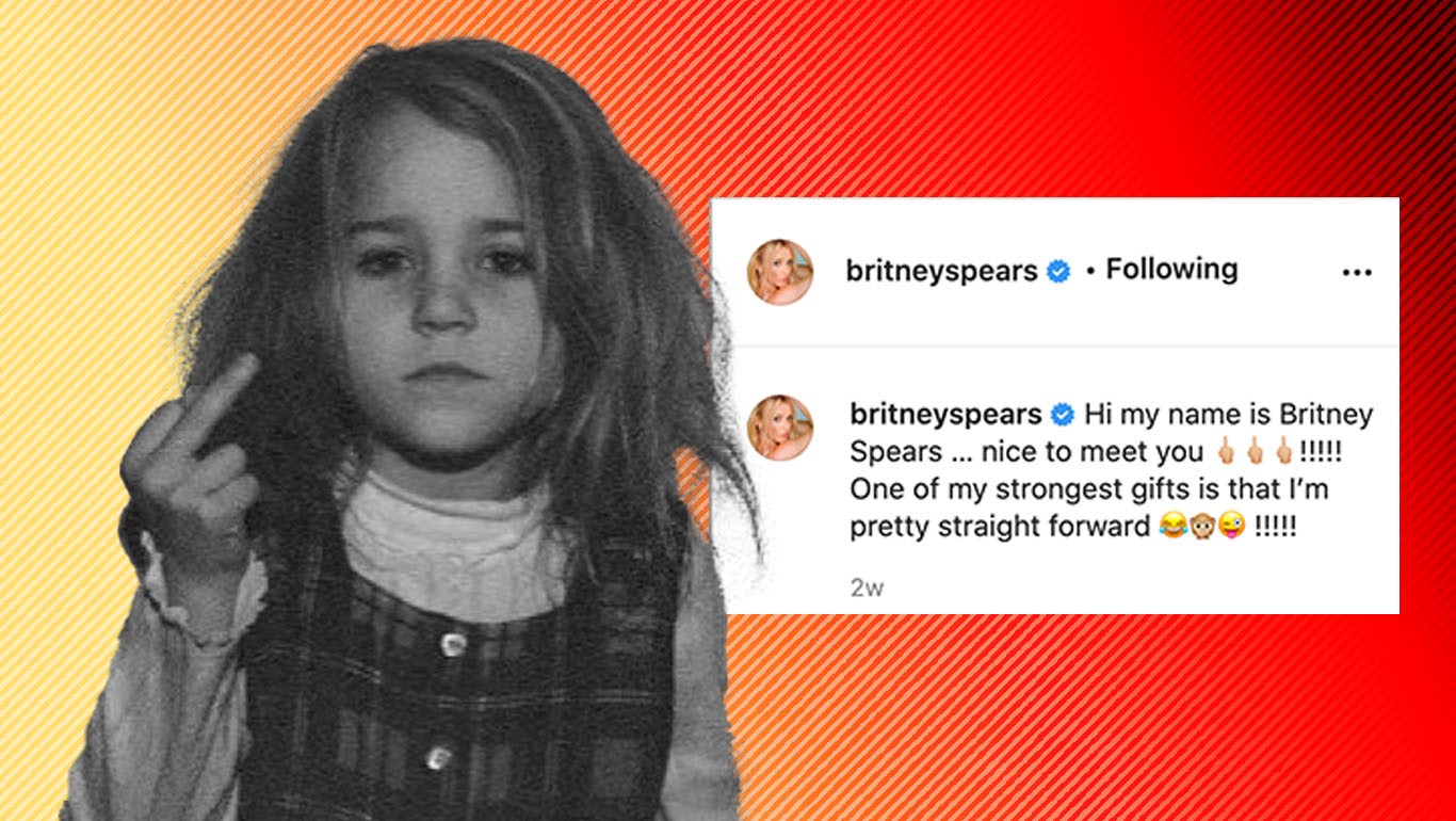 """Image from Britney's feed of her as a child giving the middle finger, with a caption that reads: """"Hi my name is Britney Spears…nice to meet you! One of my strongest gifts is that I'm pretty straight forward!"""""""