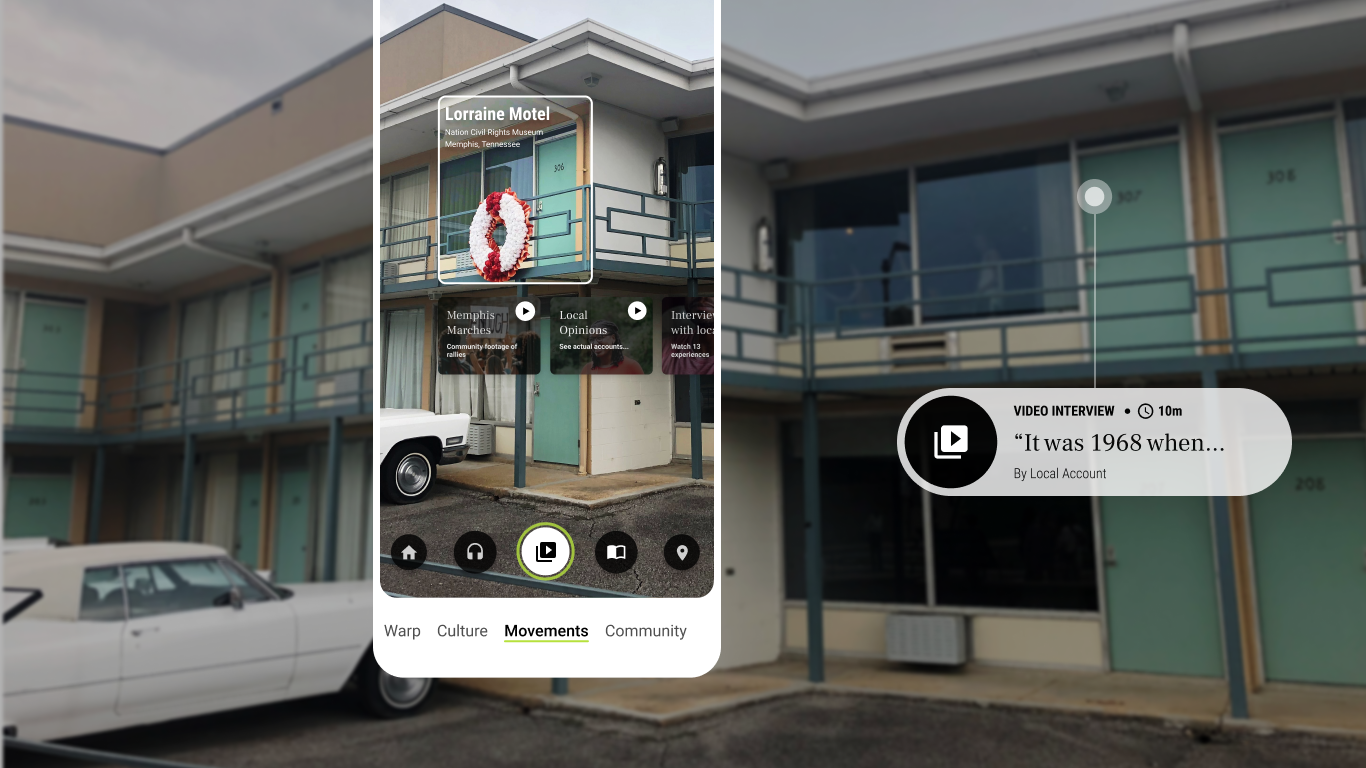 UI design showing Lorraine Motel with a video interview and other app functions to learn more about the Civil Rights Movement
