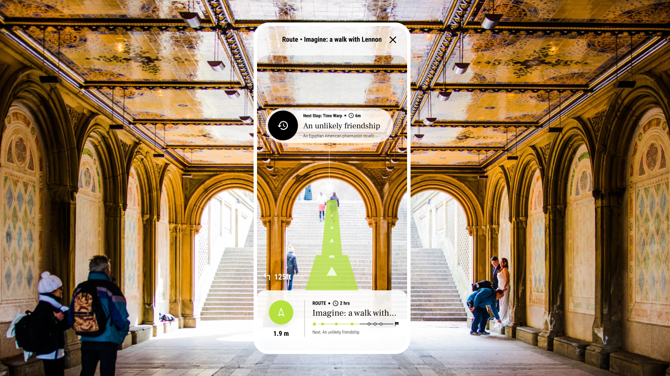 Interactive design of a route in NYC as part of the Sojourn app for the Future of Peace