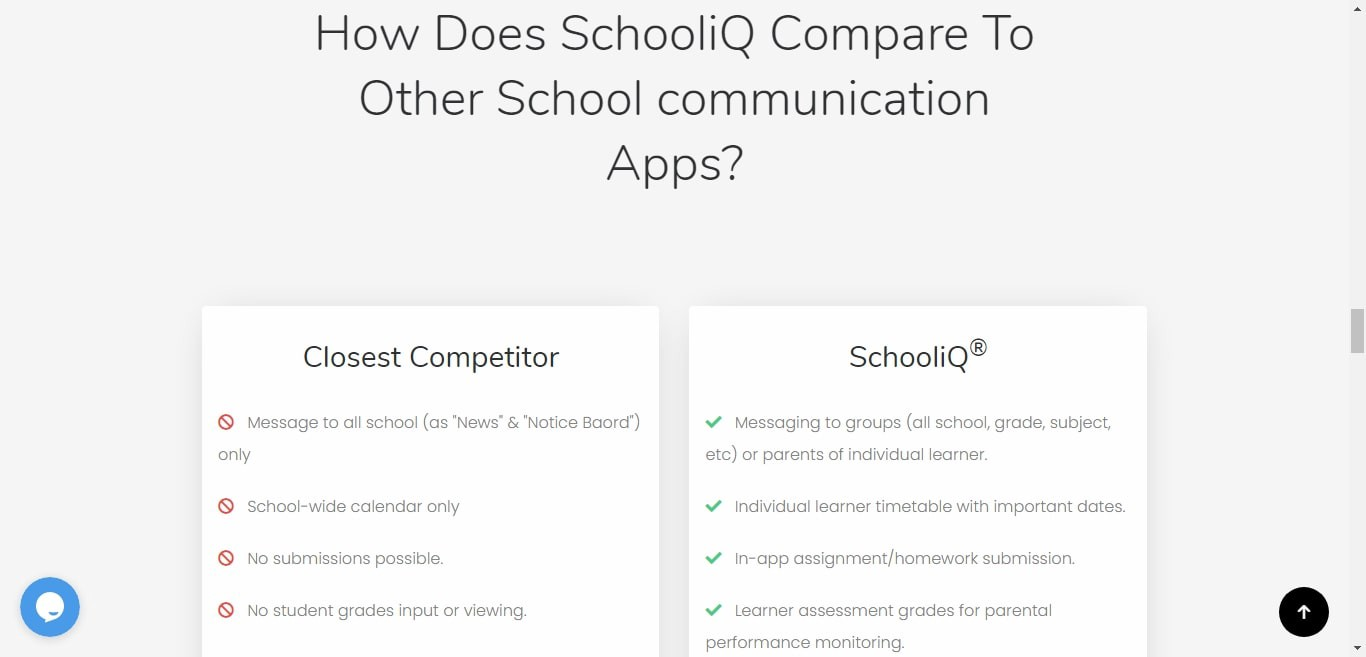 a section of SchooliQ's homepage comparing their app to their closest competitor