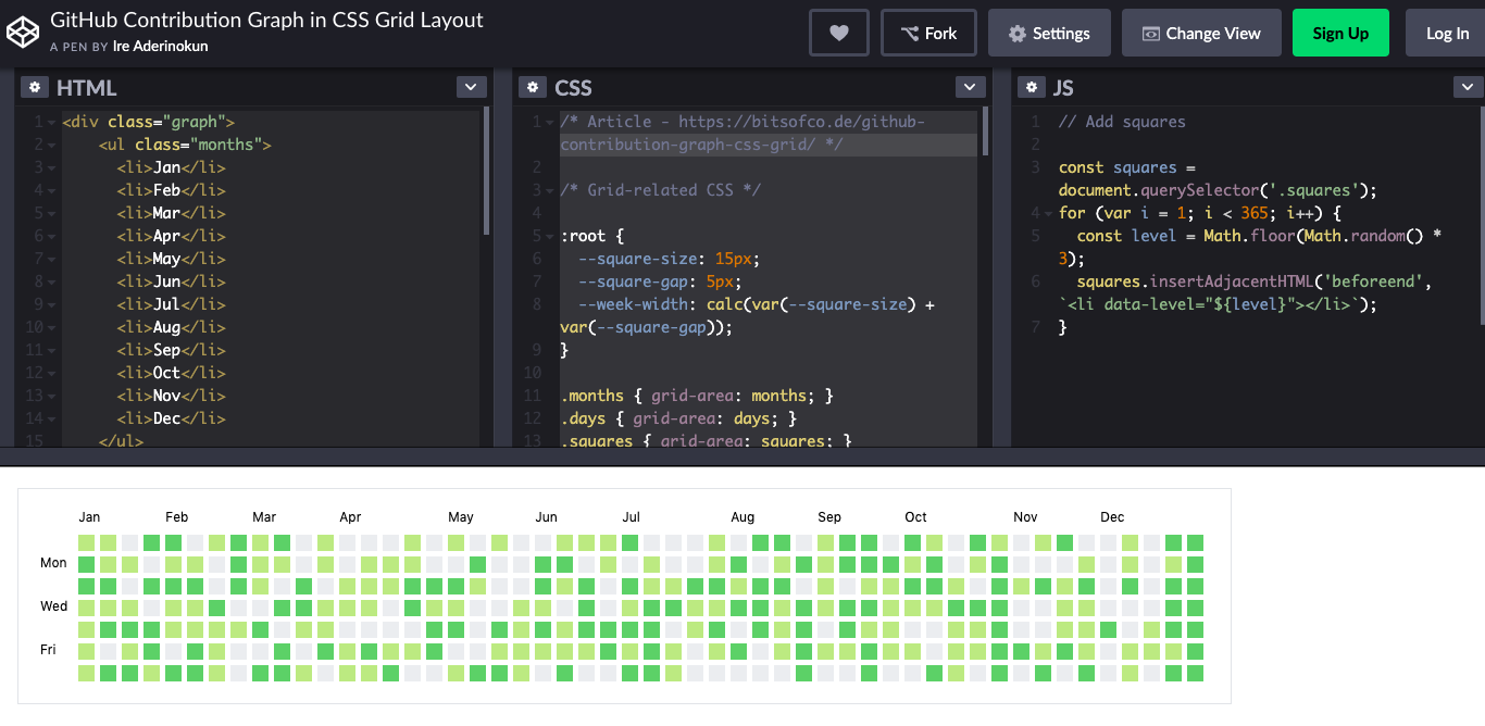 How to recreate the GitHub contribution graph with Node js