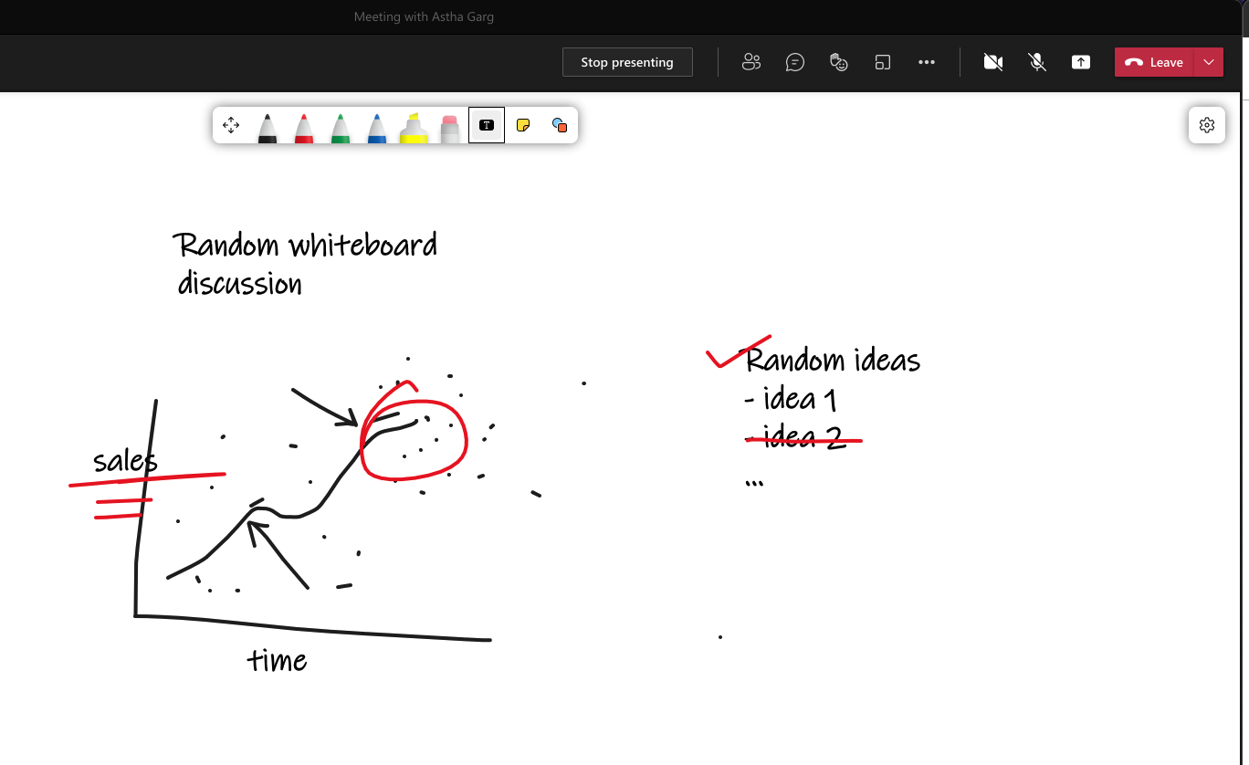 An example of online whiteboard on Microsoft Teams