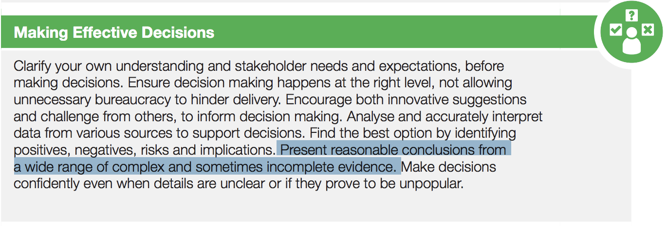 A extract from the civil service competency framework: Making Effective Decisions