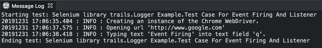 Given below is the console log when event_firing_webdriver parameter is not used.