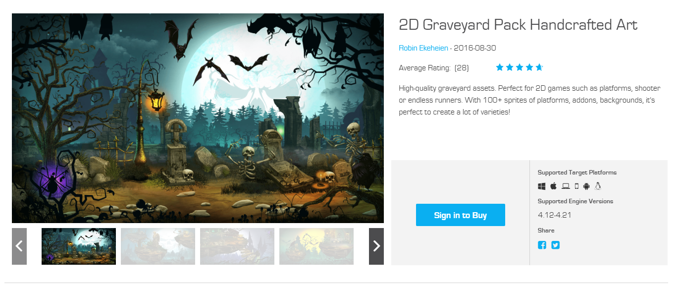 2D Graveyard Pack Handcrafted Art in Unreal