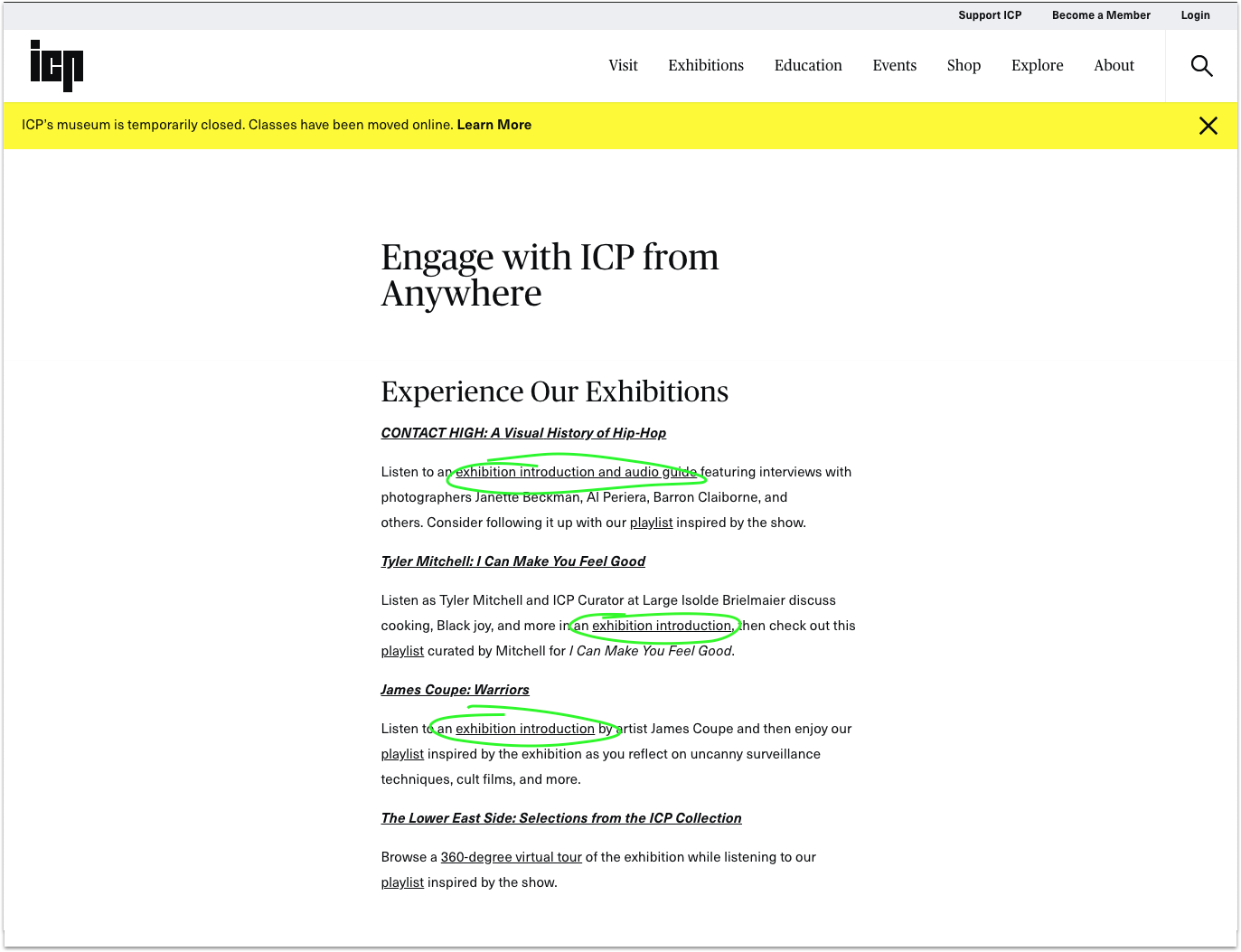 """""""Engage with ICP from Anywhere"""" page on ICP's website"""