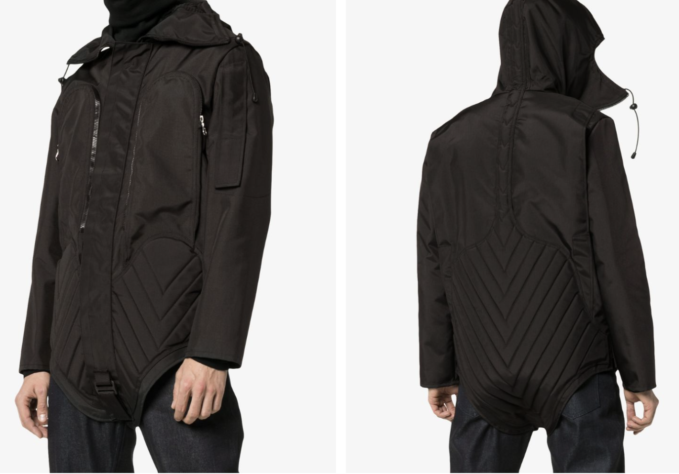 A black parka of military grade padded nylon with a high collar and zippable hood mask.
