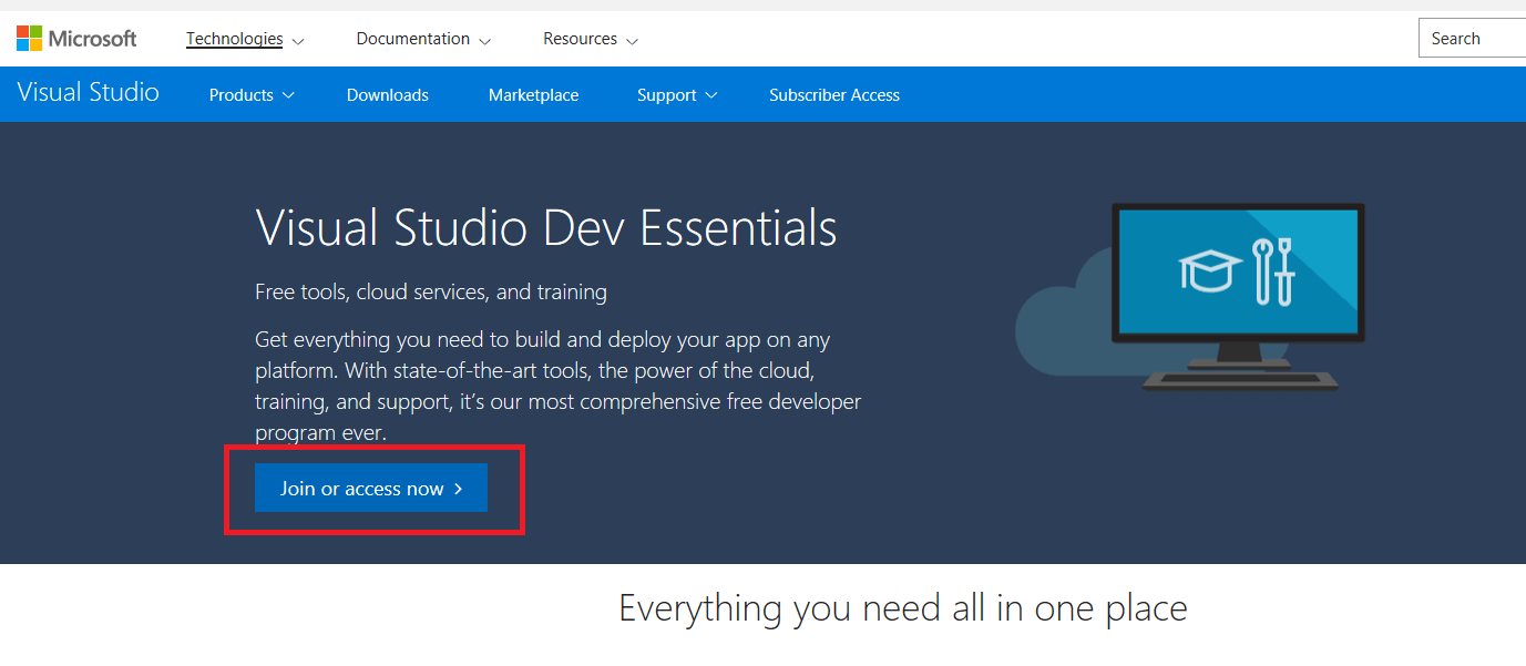 Getting started with Visual Studio Dev Essentials Benefits