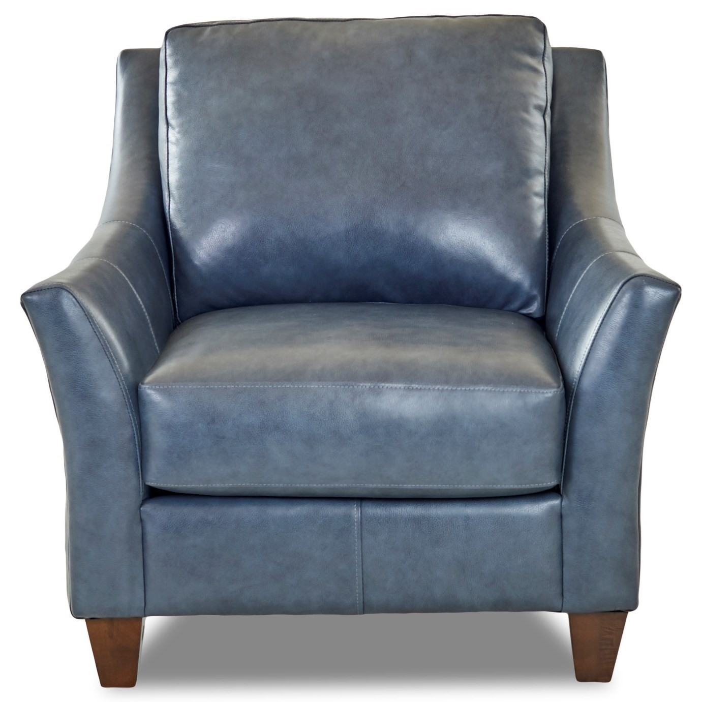 blue leather wing back chair