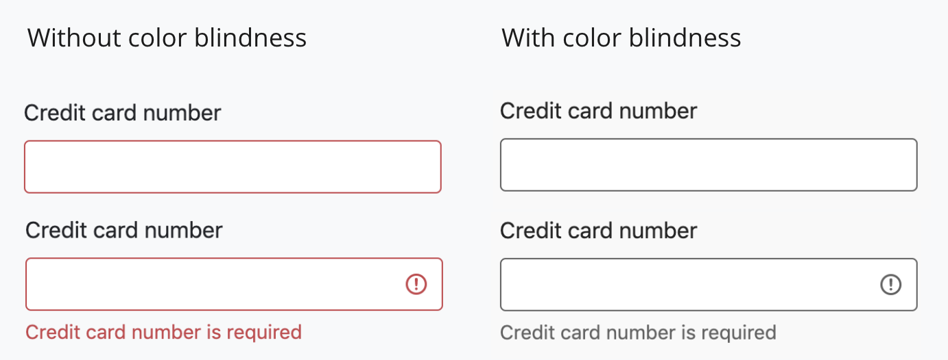 A comparison of input fields in an errors state. One set uses color alone, the other uses color and error message text