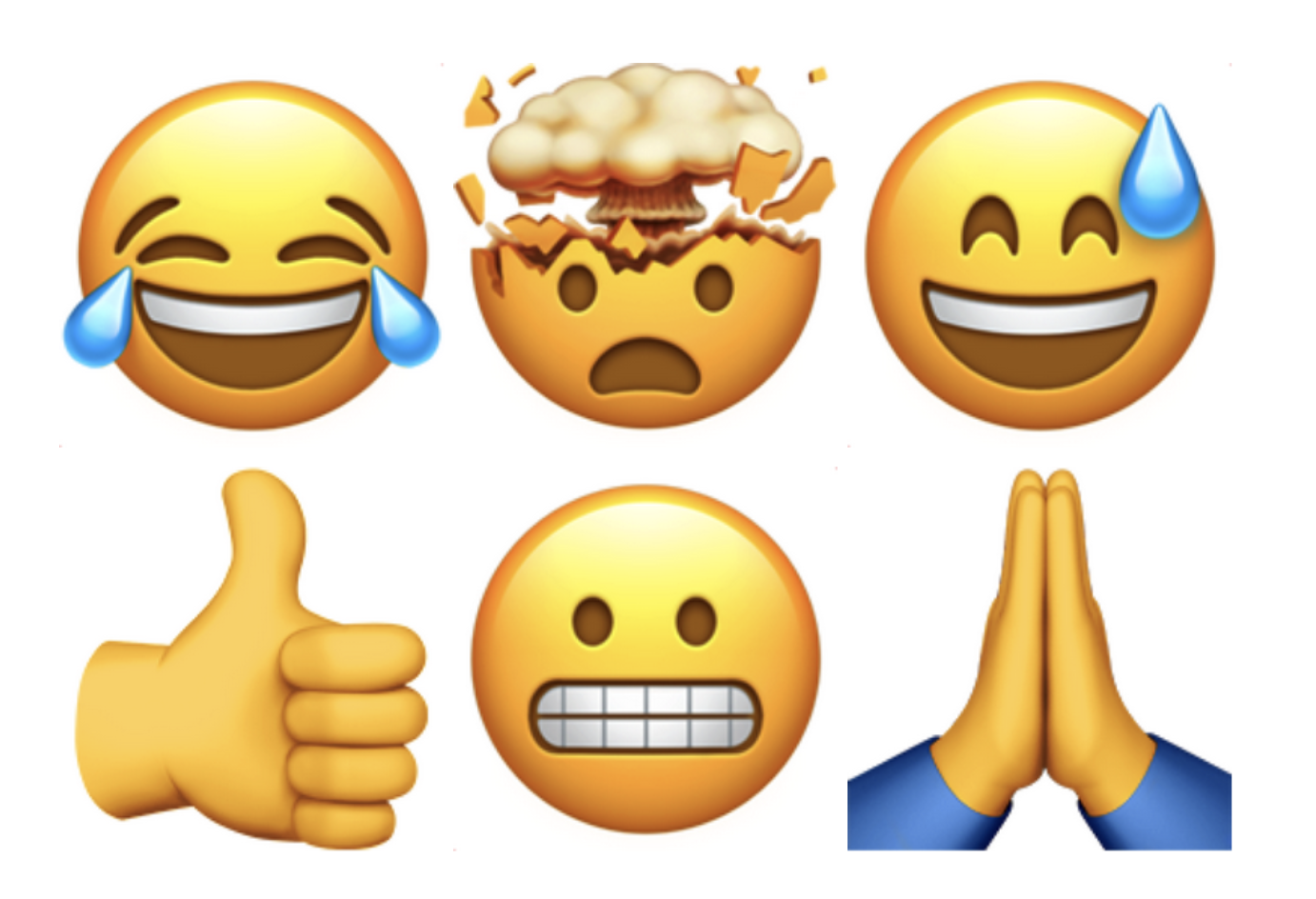 Six emojis: crying laughing, head exploding, sweat smile, thumbs up, grimace and praying hands.