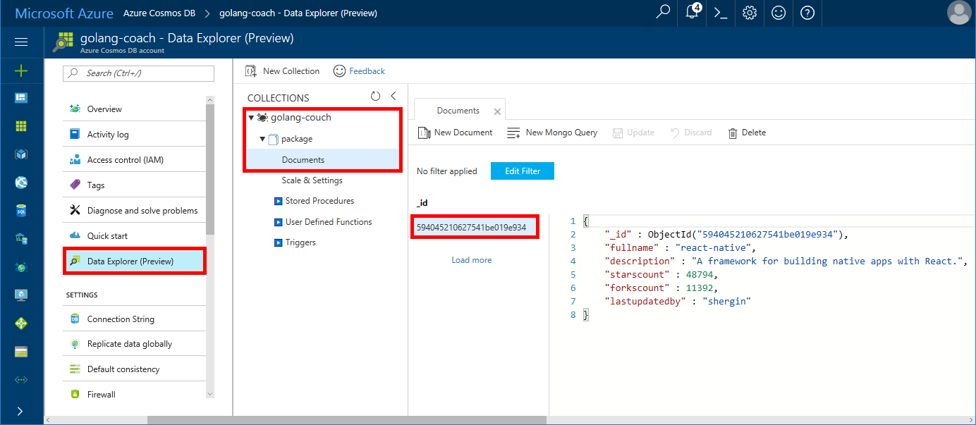 How to use Azure Cosmos DB with Golang using MongoDB's