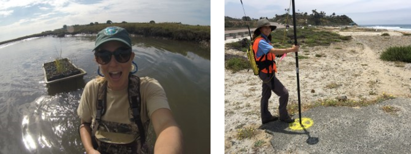 Colleen Grant on the left taking a selfie in front of a marsh Carolyn Lieberman, smiling and holding a pole.