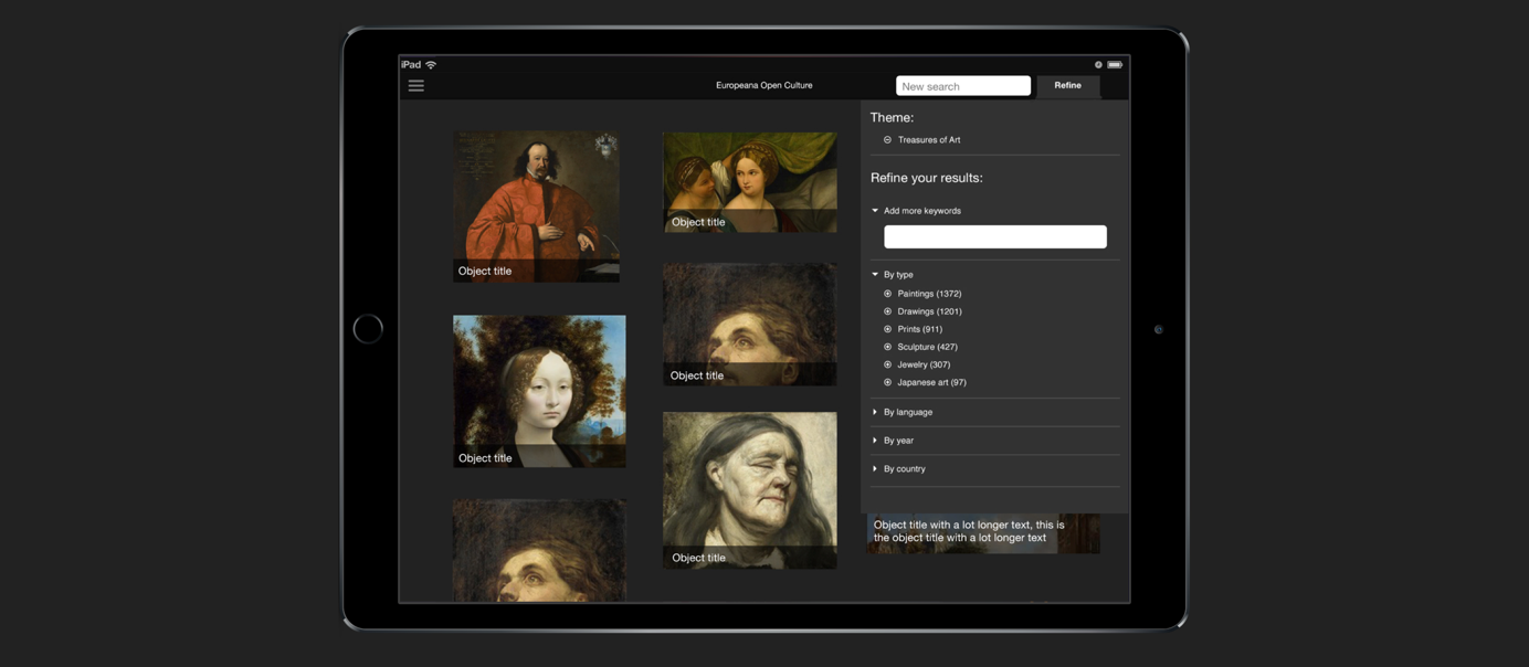 The Europeana Open Culture iOS app, showing a number of high resolution images and a filter to find content easier.