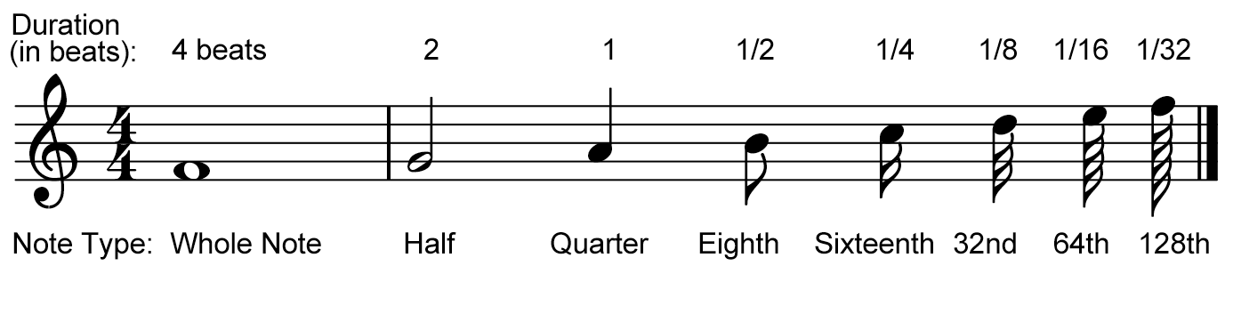 A diagram of notes, displaying their temporal names and durations