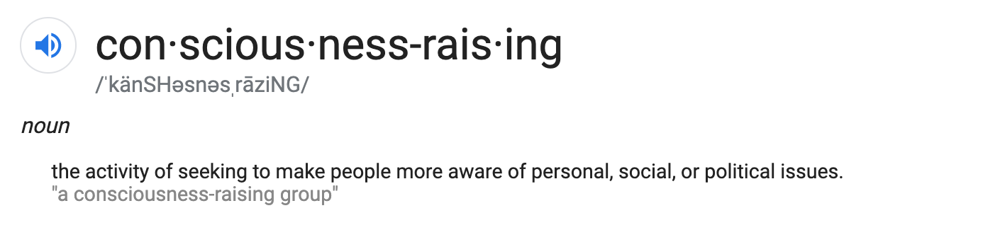 The definition of consciousness raising, a screen shot from Google Search results