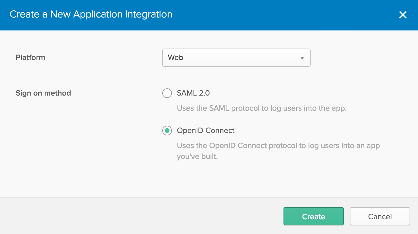 Create new application in Okta